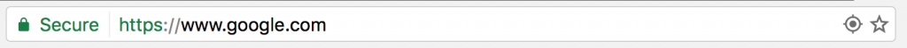 Google Chrome Version 55 search bar with secure site